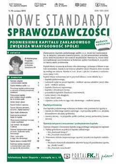 Nowe Standardy Sprawozdawczości, wydanie specjalne: Podniesienie kapitału zakładowego zwiększa wiarygodność spółki - dr Katarzyna Trzpioła - ebook