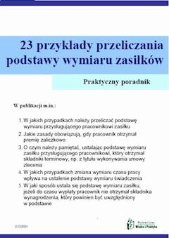 23 przykłady przeliczania podstawy wymiaru zasiłków - Agnieszka Ślązak - ebook